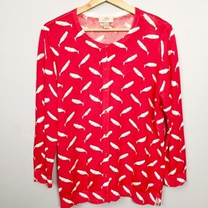 Loft Whale Cardigan Red White Size Large